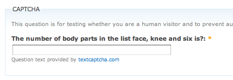 A sample CAPTCHA challenge with the question The number of body parts in the list face, knee and six is?