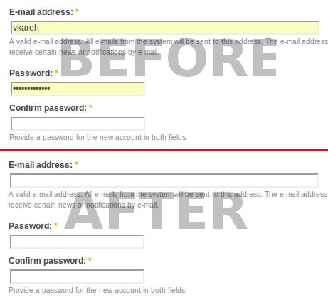 clear password field