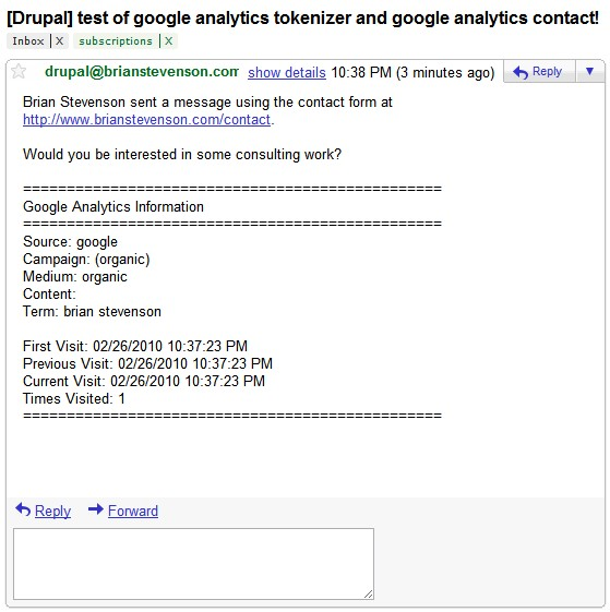 Google Analytics information Contact Form email