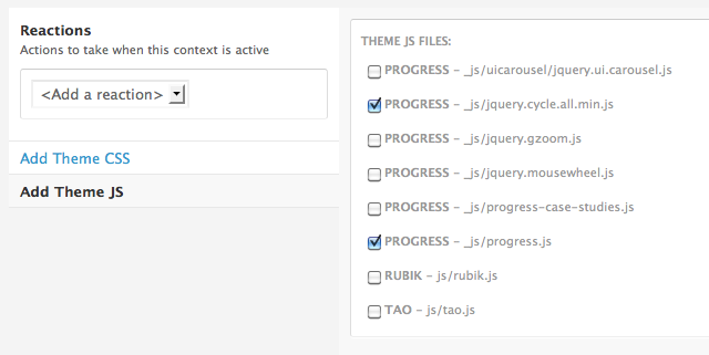 Example of Context Add Assets Configuration Pane