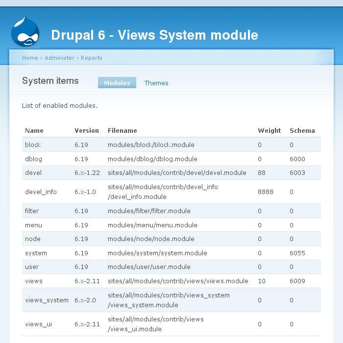 Views System module
