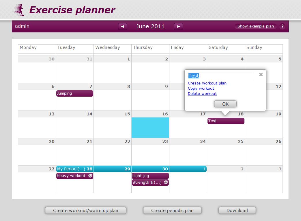 exercise planner drupal org