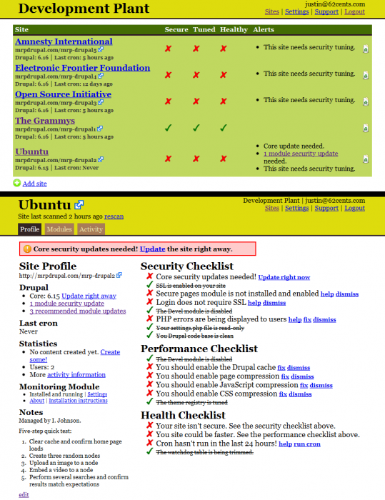 Site list and site profile example
