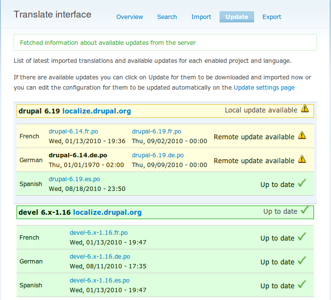Updating modules in drupal
