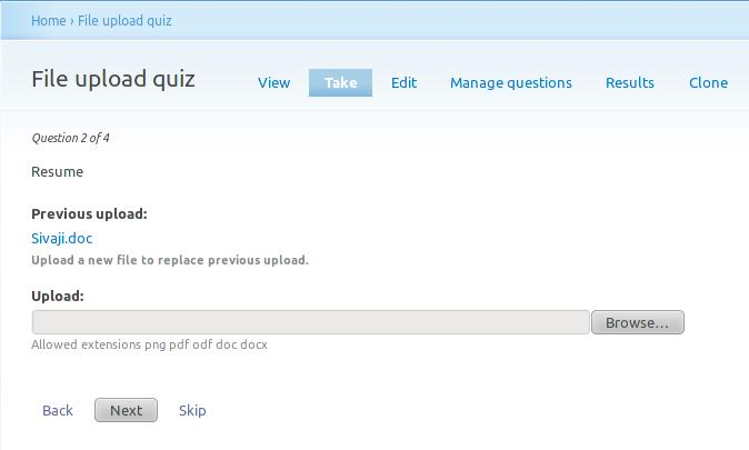 File upload quiz