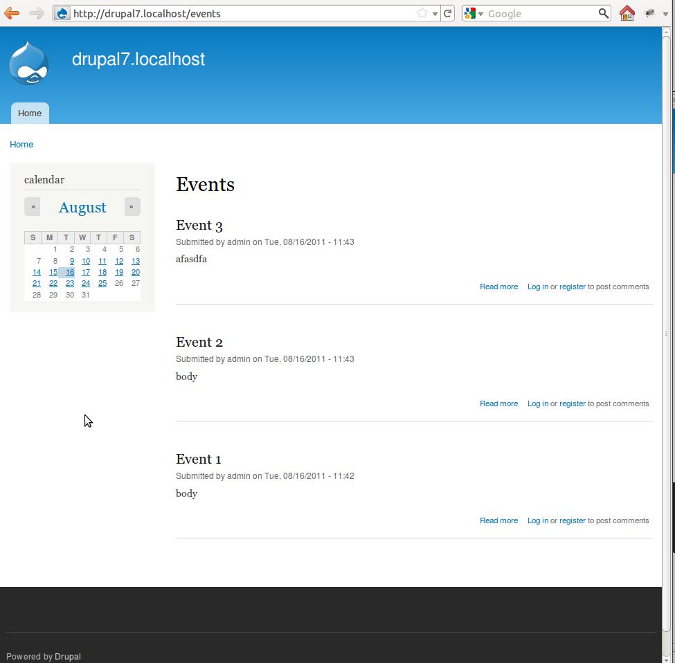 Events Calendar Feature Drupal