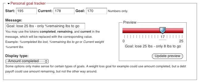 User goal setup