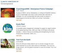 TckTckTck Partner Campaign listing (Greenpeace)