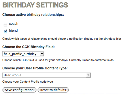 User Relationship Birthdays