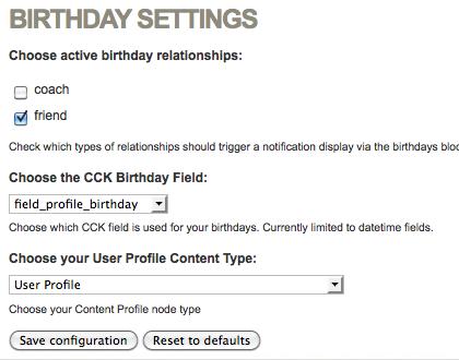 User Relationship Birthdays