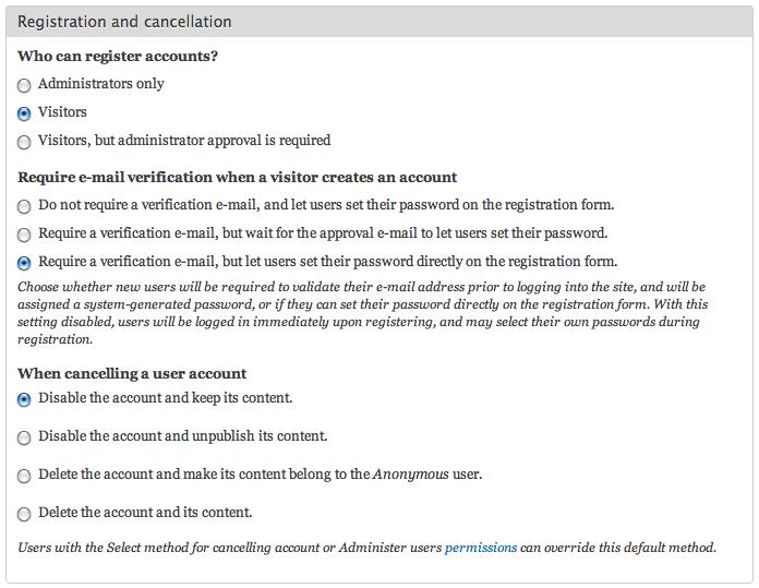 User registration password