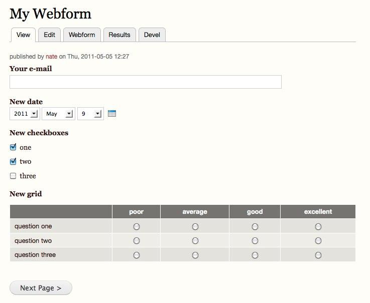 Webform ページのサンプル
