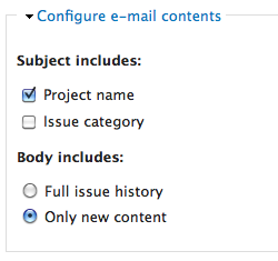 Issue e-mail notification UI: configure contents