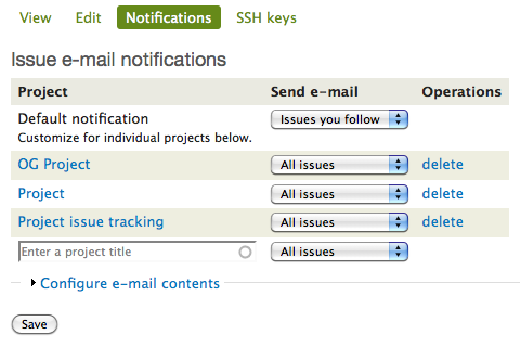 Issue e-mail notification UI: per-project overrides