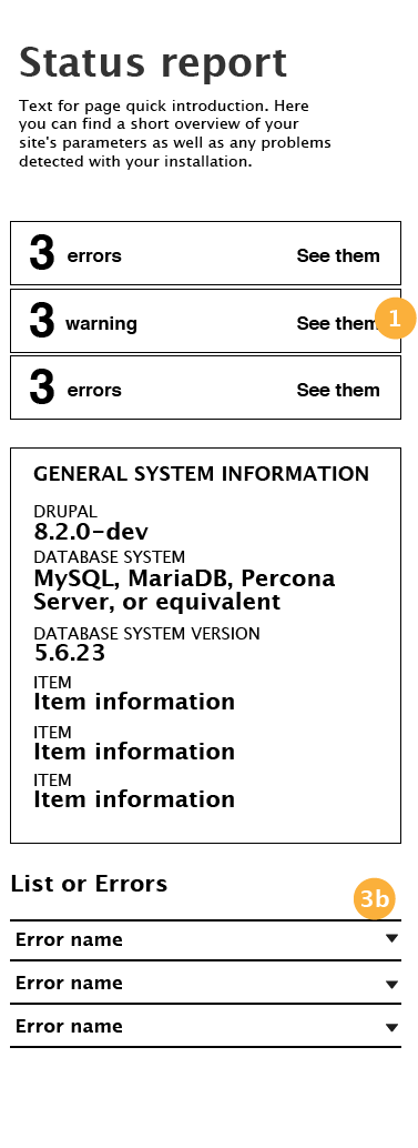 Status page in small devices