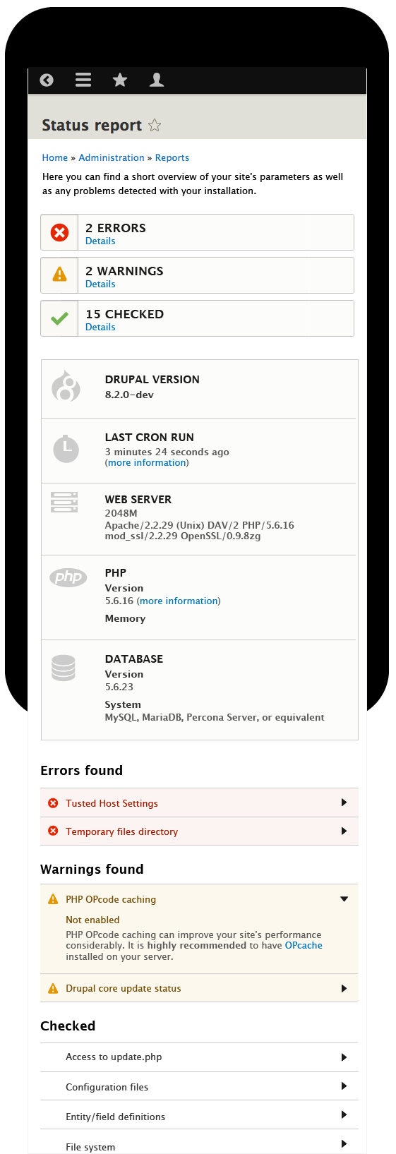 Status page mobile