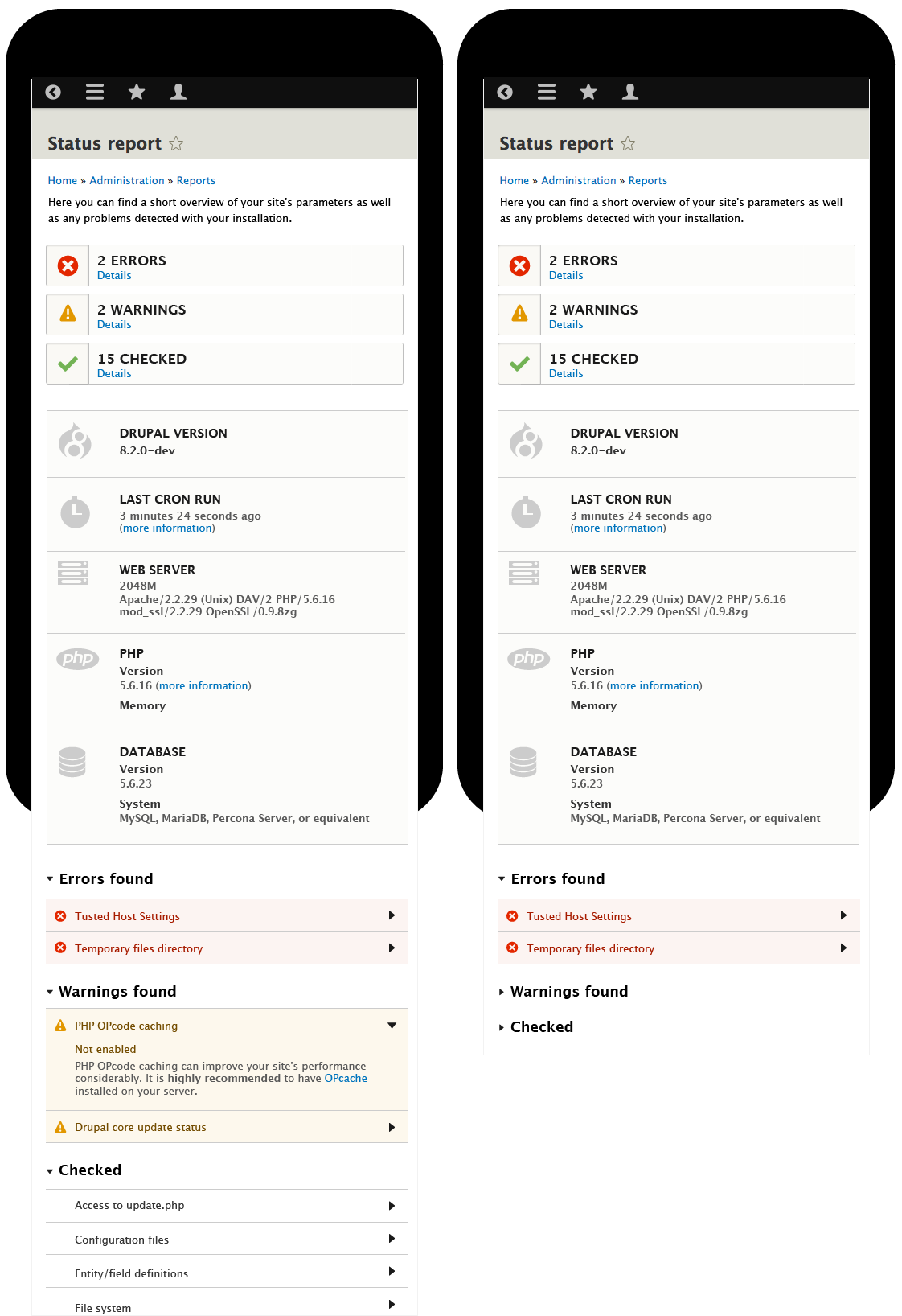 Status page mobile collapsible