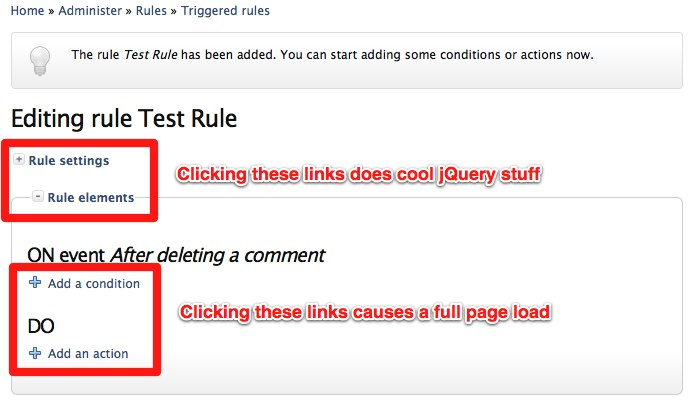 Add jQuery to 'Add a condition' and 'Add an action' links at