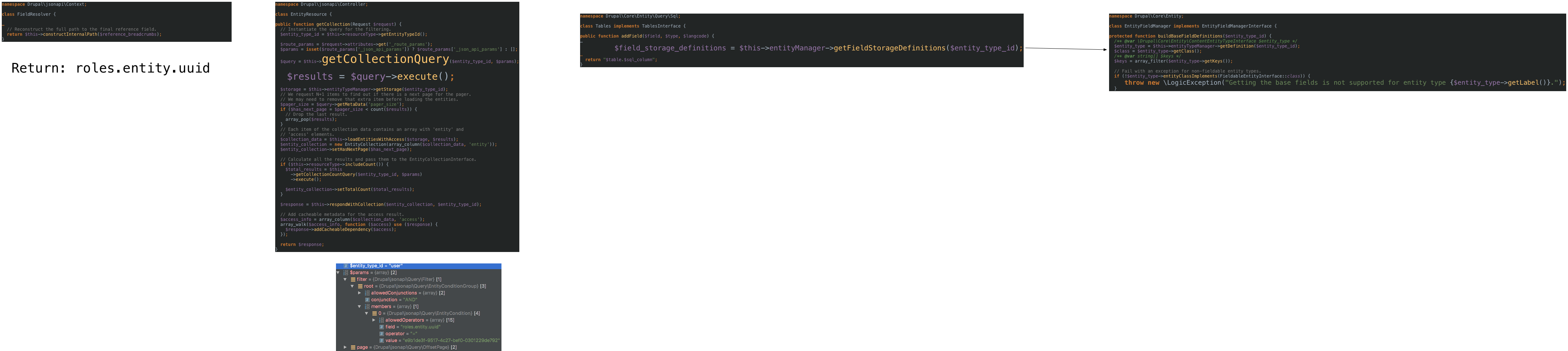 Entity querying config entities does not work, so neither does JSON