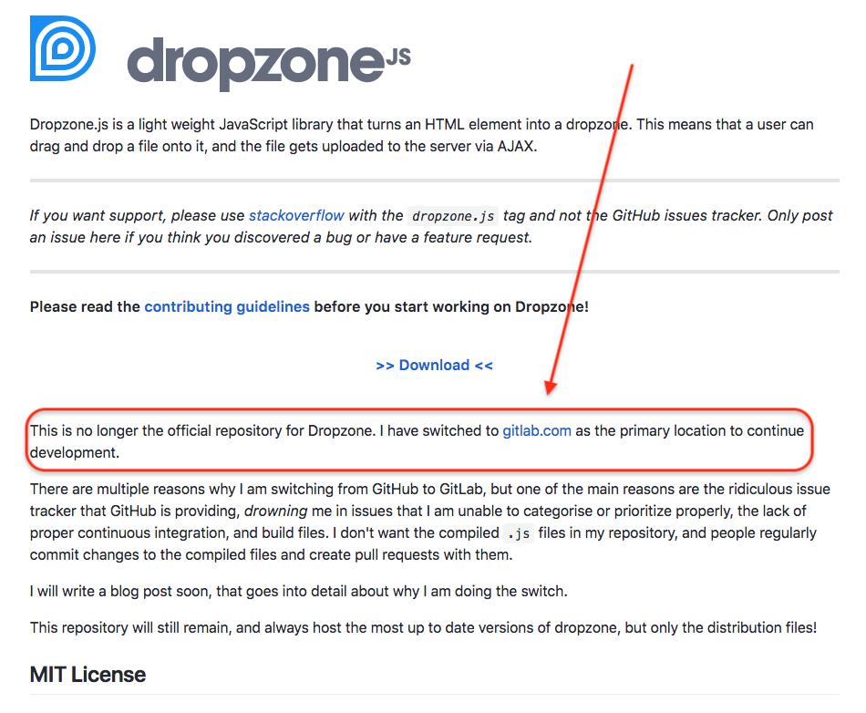 Dropzone js official repo moved to GitLab - changes to support that