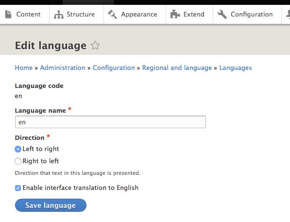 Unable to change language name [#2968907]   Drupal org