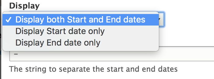 Add option to show only start or end date in the DateTime Range