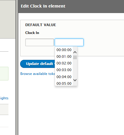 Cannot set a default value for the date/time element