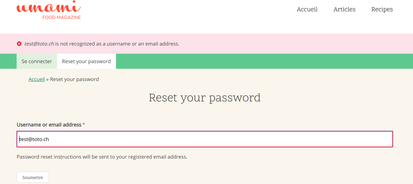 Password reset form reveals whether an email or username is