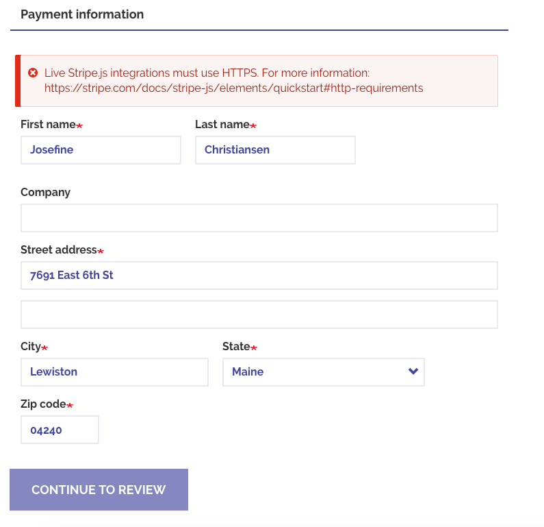 Show an error and disable the CC form when the site is not