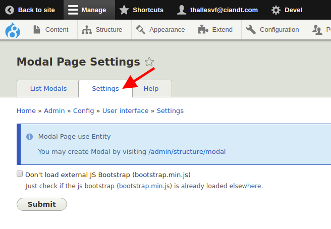 Add tab settings on page modal [#3016201] | Drupal org