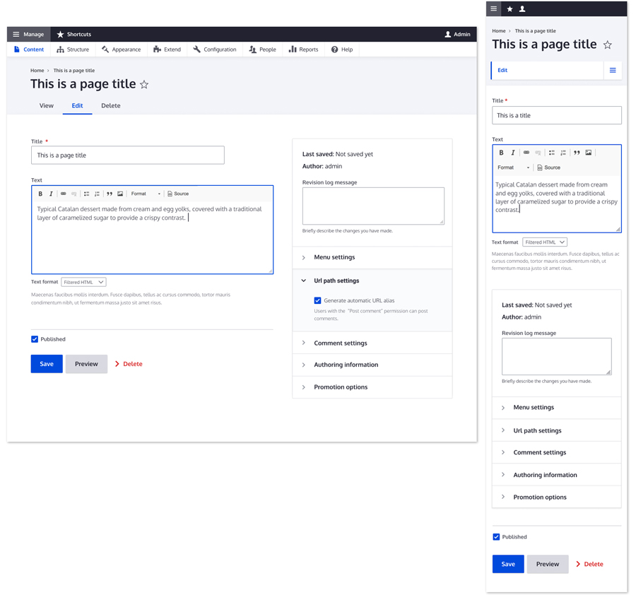 Designs for a new admin theme [#3017785] | Drupal org