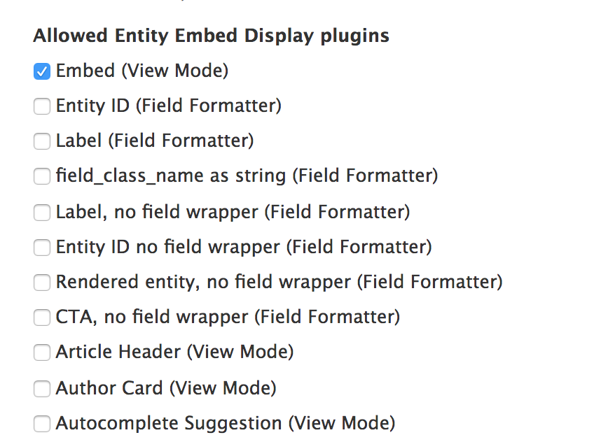 Add 'embed' view mode for all entity types, to allow