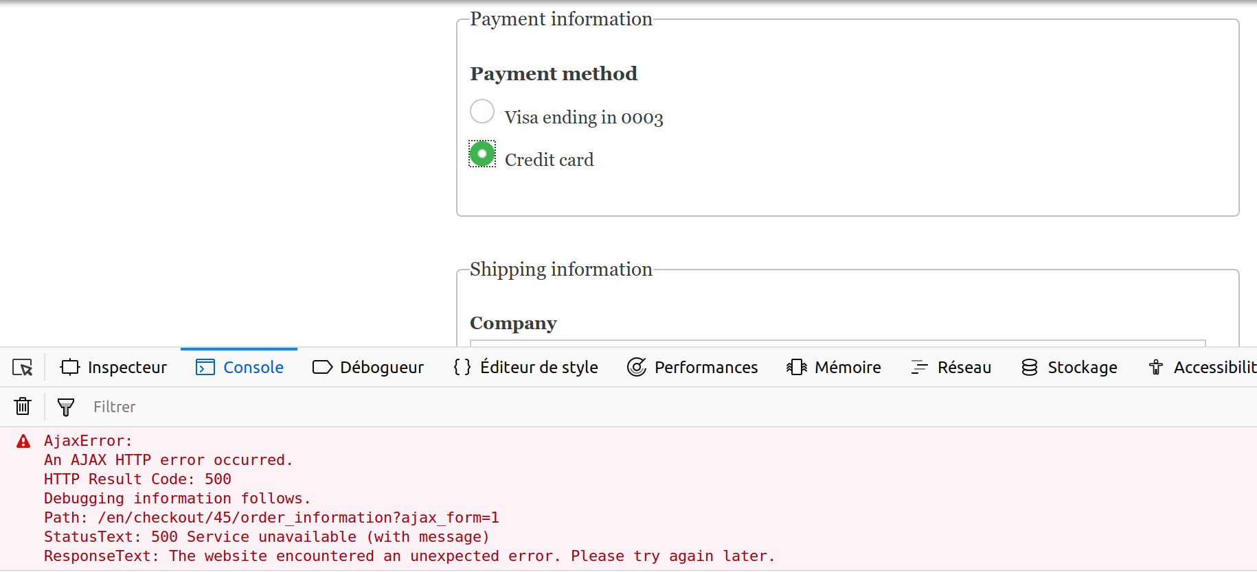 Can not add a new payment method when Webform Submission Log