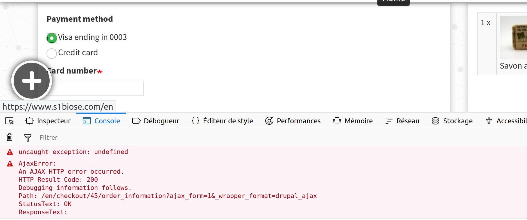 Ajax error when I change the payment method [#3027489