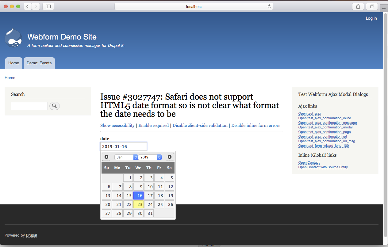 Safari does not support HTML5 date format so is not clear