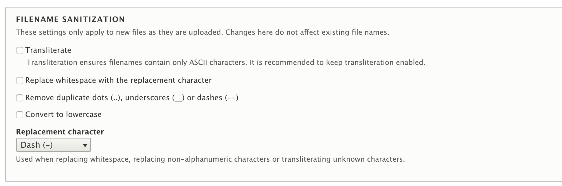 PP-1] Provide options to sanitize filenames (transliterate