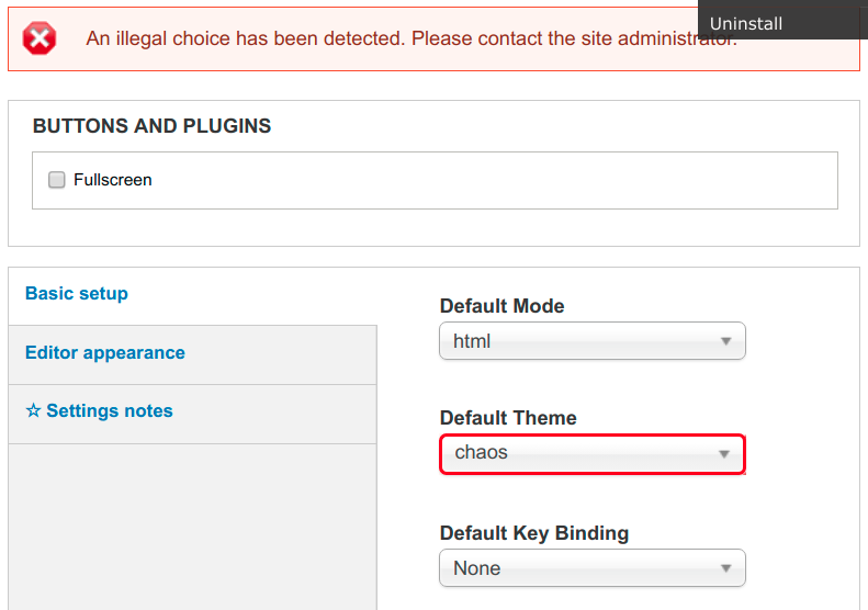 Form error on Default Theme (