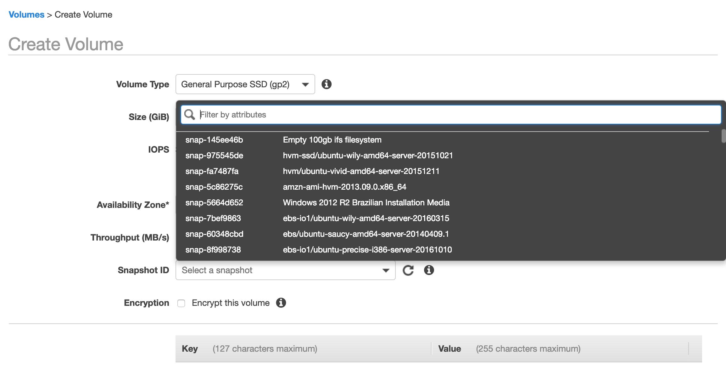 Select EBS Snapshot ID when I create a new EBS Volume [#3034959