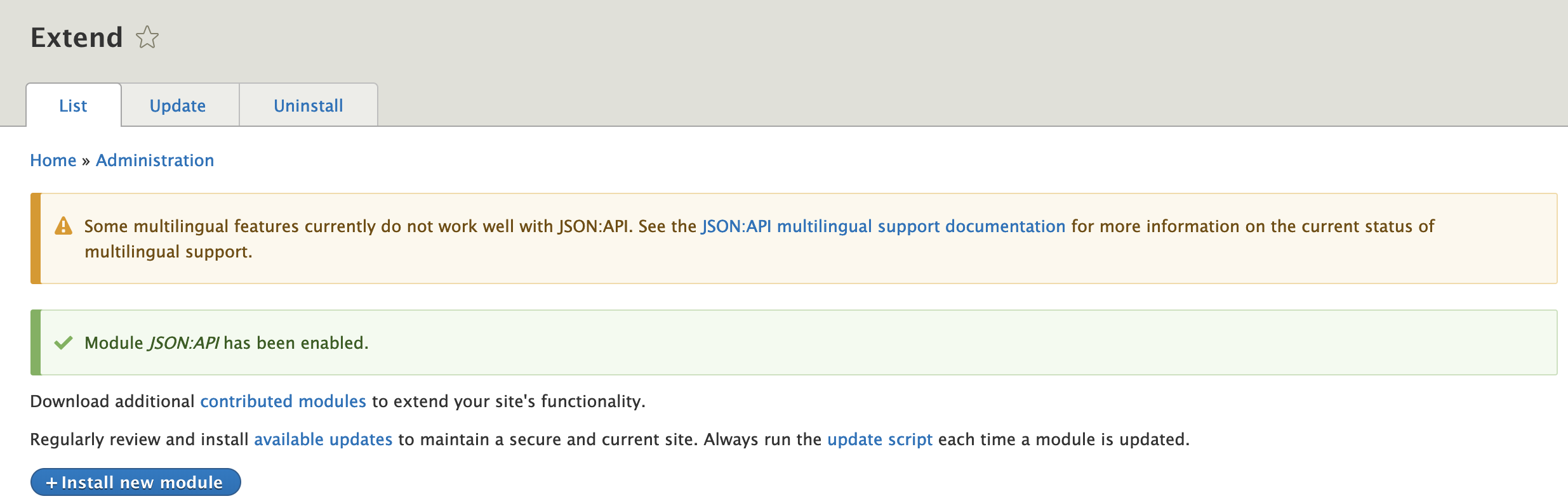 Document the extent of JSON:API's multilingual support