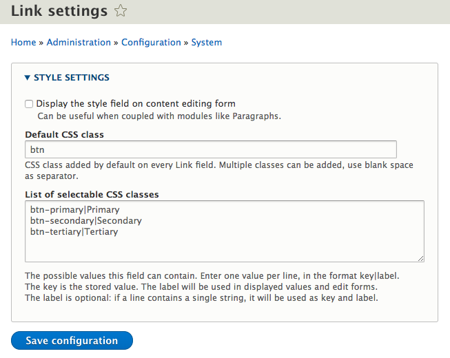 Allow to select a style option on Link fields [#3032740] | Drupal org