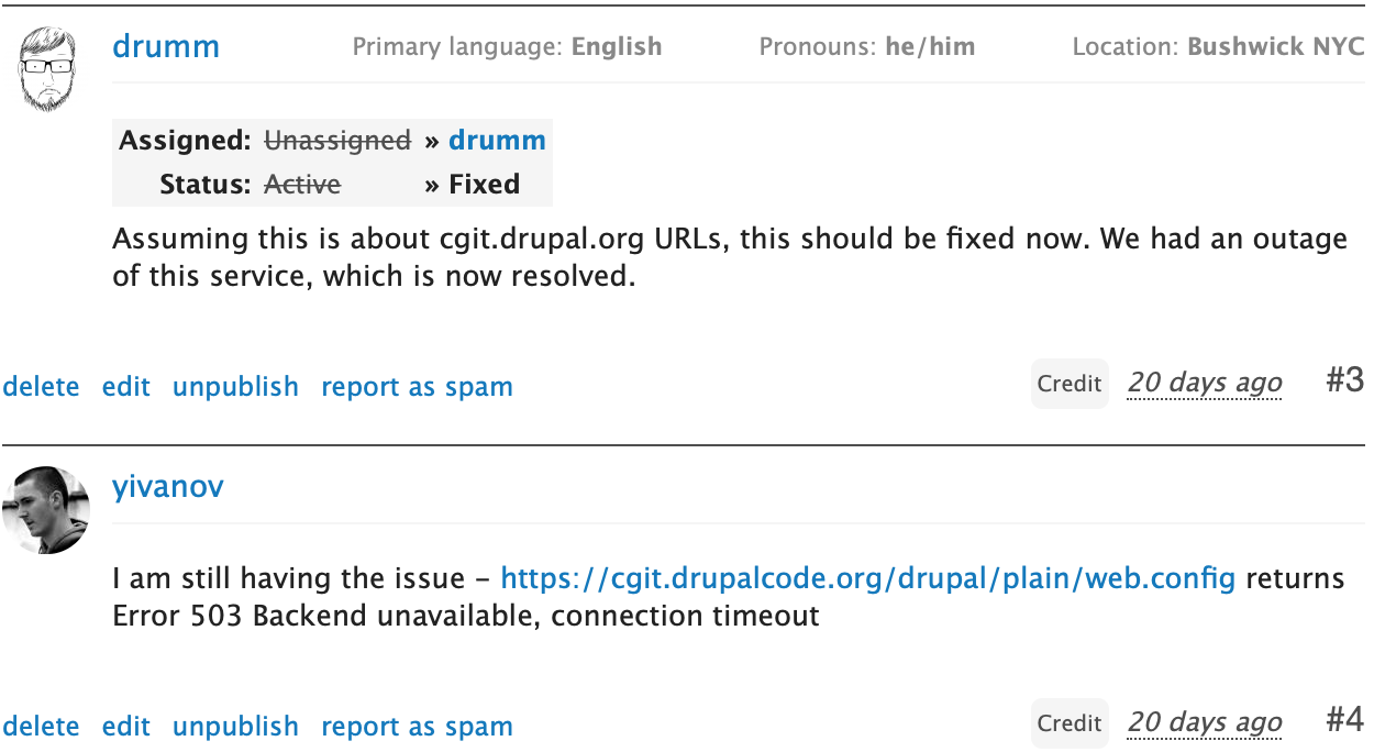 Show information about users on their comments [#2961229]   Drupal org