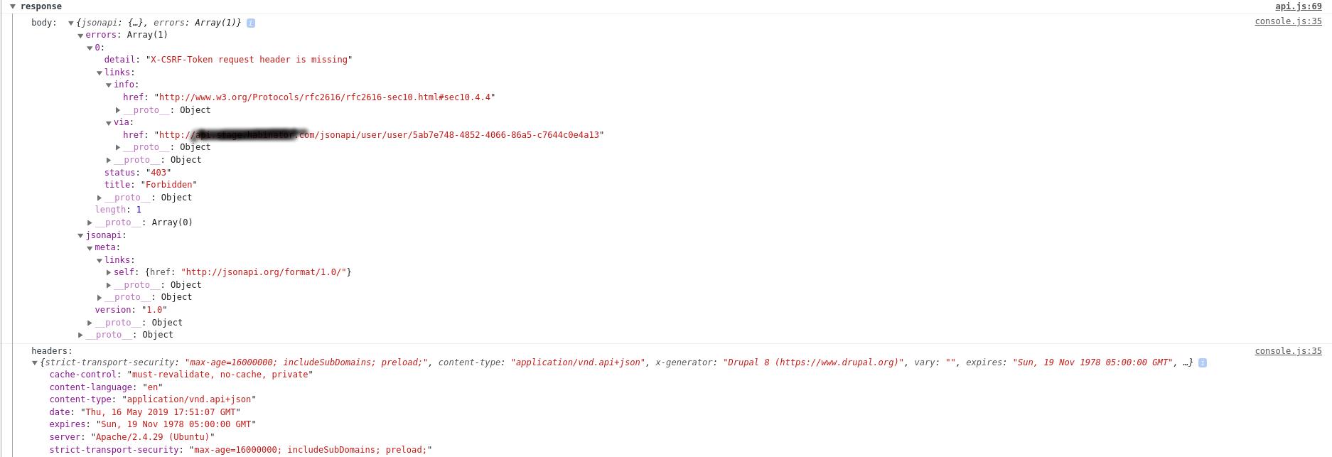 X-CSRF-Token request header is missing when using Bearer