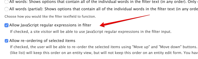 Provide option to escape the filter text value for