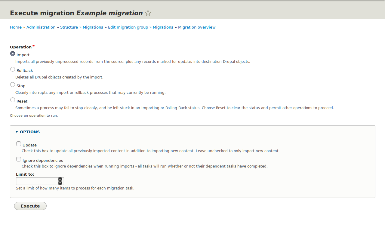 Make the migrate execution form accessible and more usable