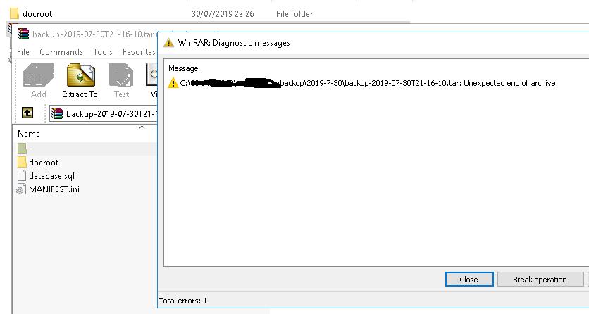 all backup TAR file