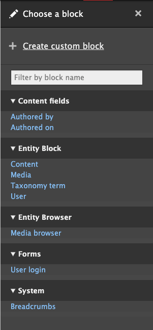 The list of available blocks in Layout Builder is overwhelming to