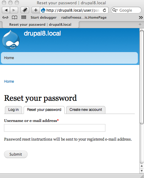 User password reset form button text is wrong [#2131849]   Drupal.org