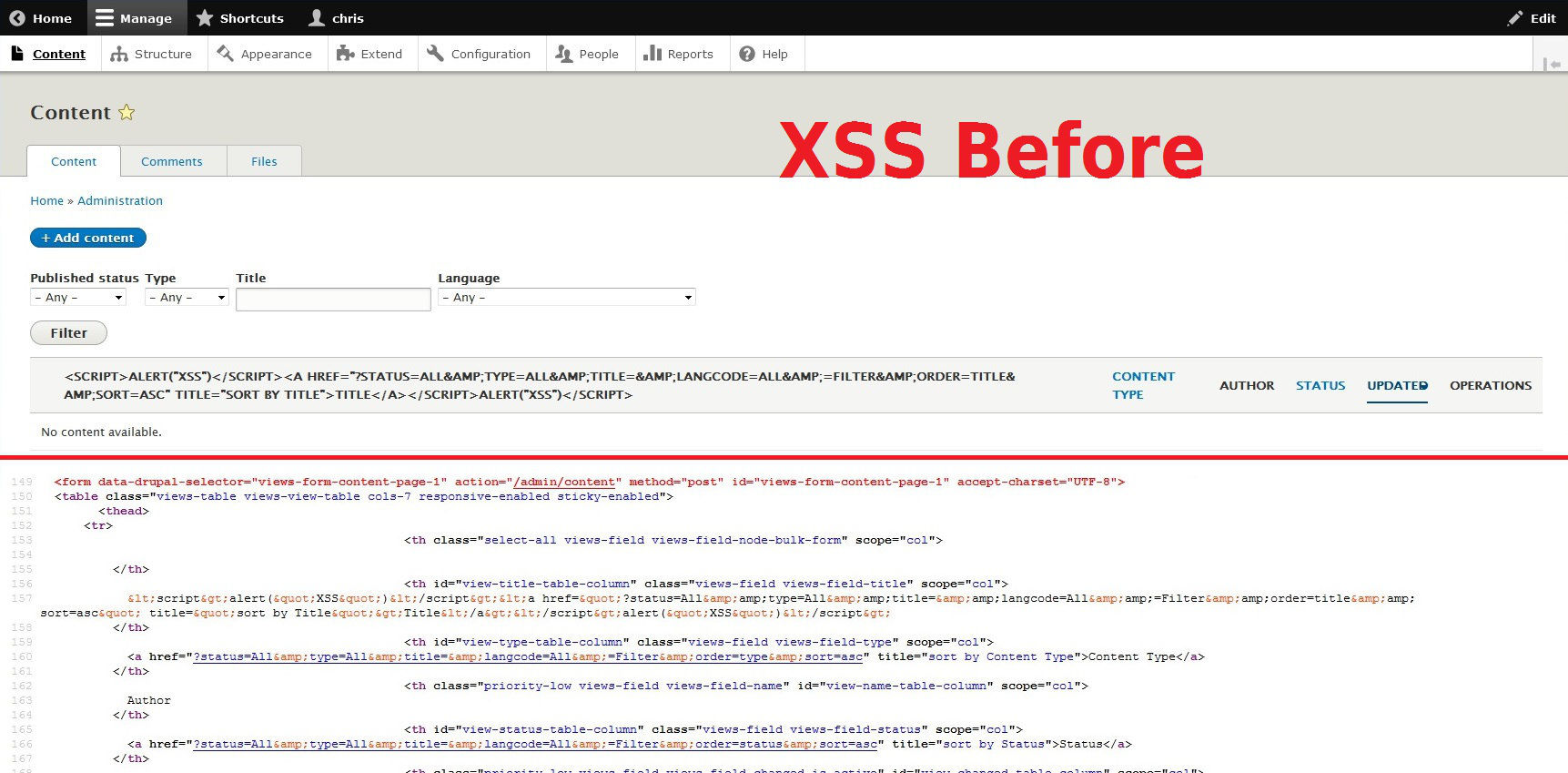 XSS Before Patch