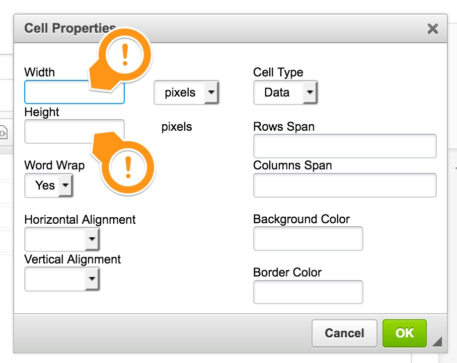 upstream] Cannot set cell width or height because inline styles are ...