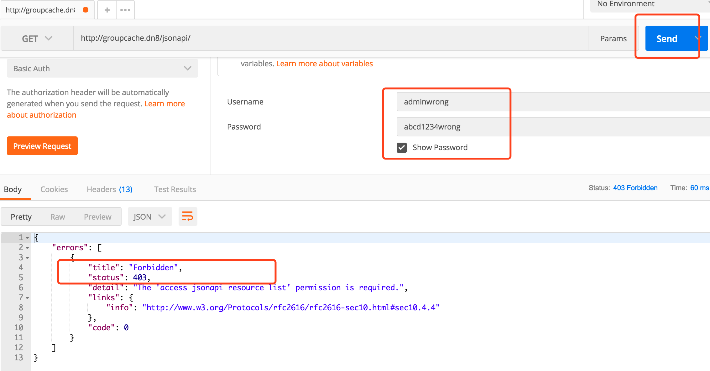 wrong-username/ wrong-password visit /jsonapi many times make right